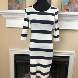 Divided by H&M white & navy striped bodycon dress